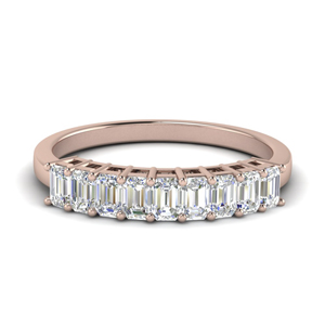 Emerald Cut Wedding Band 9 Stone