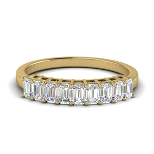 9 Stone Emerald Cut Wedding Ring