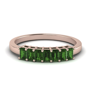 0.75 Carat Emerald Wedding Band