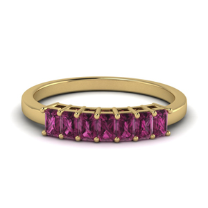 baguette pink sapphire vintage wedding band in 14K yellow gold FD9294SBGSADRPI NL YG GS