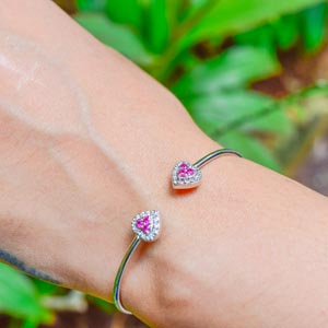 Heart Halo Open Cuff Bracelet