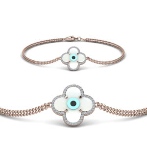 Diamond Floral Evil Eye Bracelet