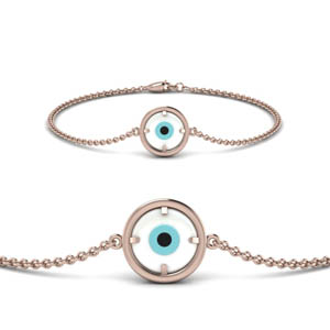 14K Rose Gold Evil Eye Bracelet