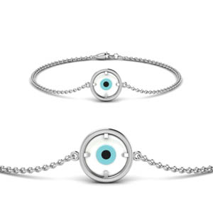 14K White Gold Circle Design Bracelet