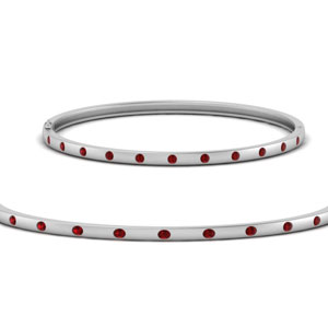 Station Bangle Bracelet With Ruby