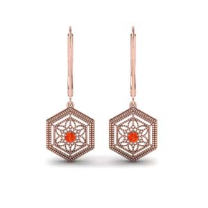 Orange Topaz Earring For Women