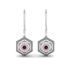 Leverback Dangle Ruby Earrings