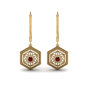 Filigree Leverback Ruby Earring