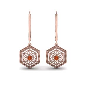 Floral Orange Sapphire Dangle Earrings