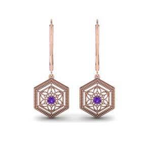 Purple Topaz Filigree Dangle Earring