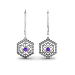 18K White Gold Dangle Earring