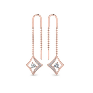 Heart Diamond Threader Earring