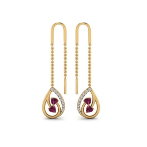 Gold Chain Thread Heart Earring
