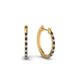 Black Diamond Huggie Hoop Earring
