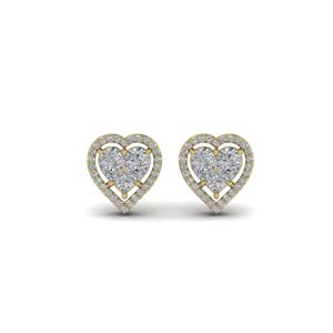 Invisible Set Heart Halo Stud Earring