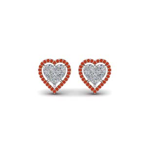 Heart Halo White Gold Earring