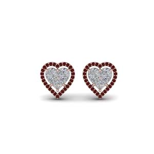 Heart Halo Ruby Stud Earring