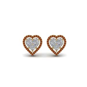 Heart Halo Gold Stud Earring