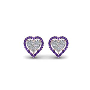 Purple Topaz Halo Stud Earring