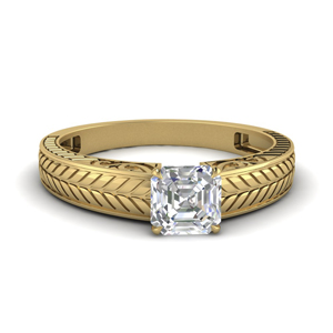 Lab Created Asscher Diamond Ring