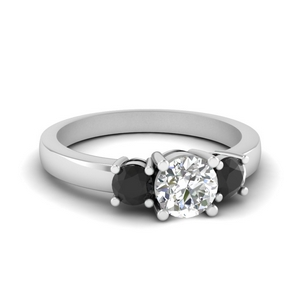 3 stone round engagement ring with black diamond in FDENR2419RORGBLACK NL WG