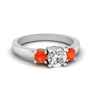 0.75 Carat Ring With Orange Topaz