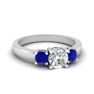 3 stone round engagement ring with sapphire in FDENR2419RORGSABL NL WG