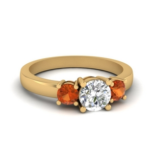 Gold Round Orange Sapphire Ring