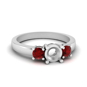 3 stone semi mount engagement ring with ruby in FDENR2419SMRGRUDR NL WG
