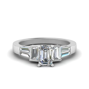 Emerald Cut Ring With Baguette