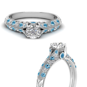 Diamond Ring With Blue Topaz