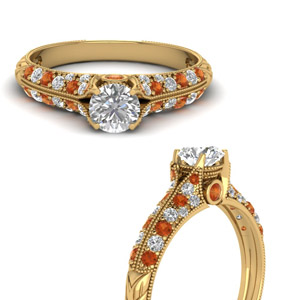 Gold Milgrain Round Diamond Ring