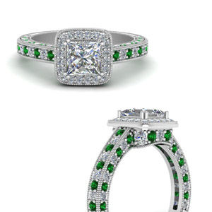 Platinum  Emerald Engagement Ring