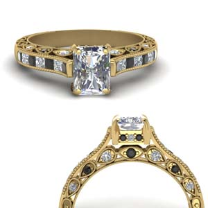Black Diamond Milgrain Ring In 18K Gold