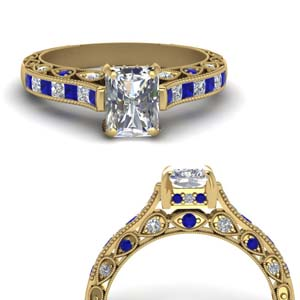 Gold Radiant Cut Milgrain Engagement Rings