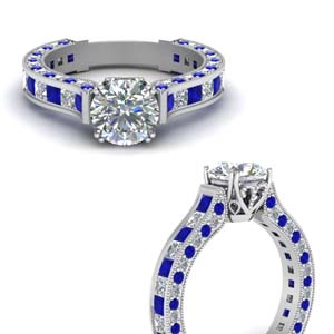 Sapphire Cathedral Diamond Ring