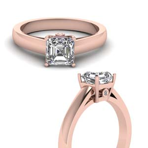 Moissanite Asscher Cut Side Stone Rings