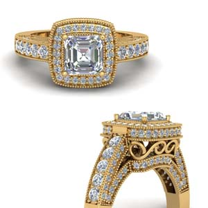 Asscher Cut Square Halo Ring