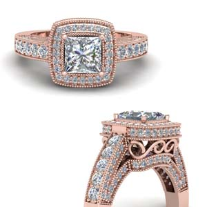 Filigree Shank Pave Halo Diamond Ring