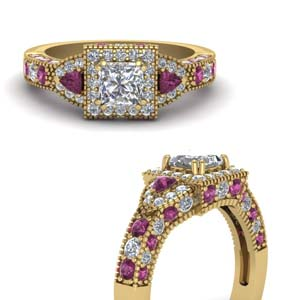 Square Halo Pink Sapphire Ring