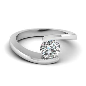Tension Set Single Diamond Ring