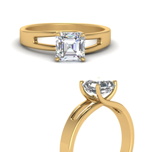 18K Gold Split Asscher Diamond Ring