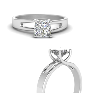 Princess Cut Solitaire Swirl Ring
