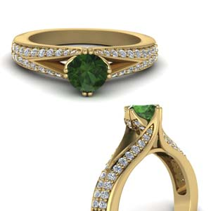 Emerald Split Pave Ring