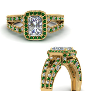 Emerald Halo Vintage Ring