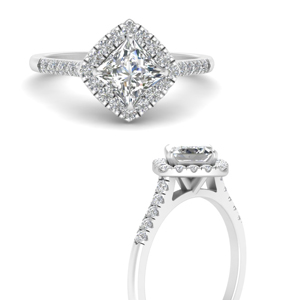 White Gold Princess Cut Halo Engagement Rings