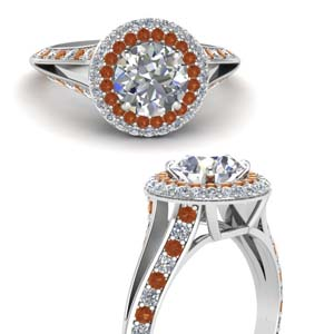 Round Cut Orange Sapphire Ring