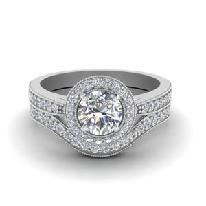 Pave Halo Round Diamond Wedding Set