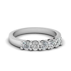 14K White Gold 5 Stone Band 1.5 Ct.