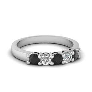 5 Stone Black Diamond Band